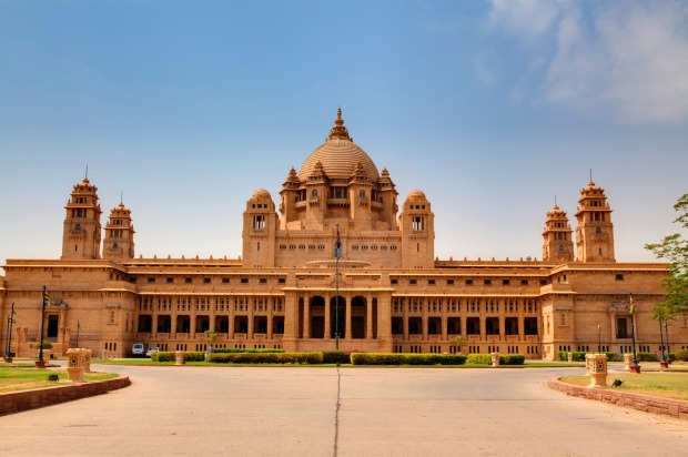 UMAID BHAWAN PALACE, JODHPUR, RAJASTHAN, INDIA: When the Maharajah of Jodhphur built this 347-room behemoth throughout ...