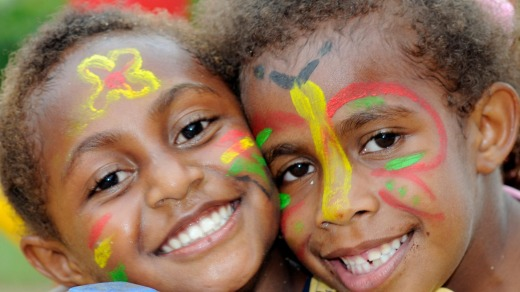 Face paint adds colour to young girls in Port Vila, Vanuatu.