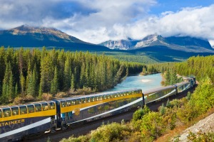 That Rocky Mountaineer train at Morant's Curve in the Canadian Rockies.