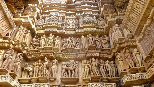 The seductive surasundari,  or celestial nymphs, are among the featured sculptures.