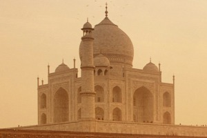 Taj Mahal at sunrise, Agra, India.