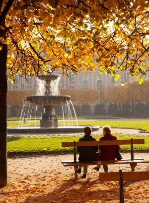 Enjoying the morning at Place des Vosges in the Marais District.