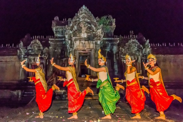 Traditional Apsara Dance at Banteay Samre Temple in Angkor.