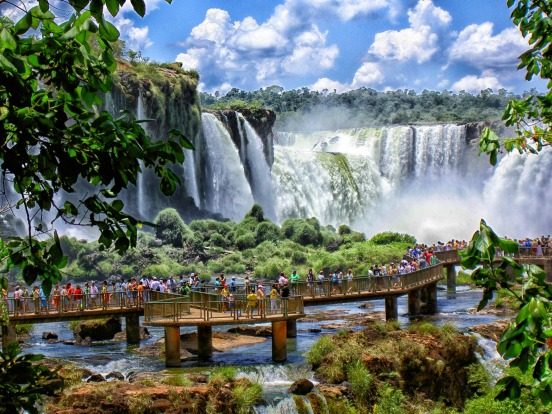 Iconic sights on a 22-day private jet tour: Iguazu Falls on the border of Brazil and Argentina.