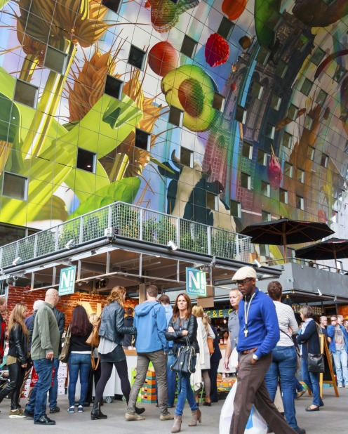The radical architecture of the Markthal in Rotterdam, the largest covered market floor in the Netherlands.