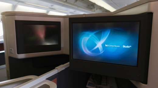 15.4 inch touchscreen televisions on board Cathay Pacific.