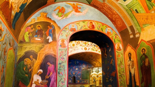 The interior of Saint Basil Cathedral, Red Square, Moscow.