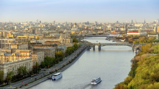Moskva River in a spring evening.
