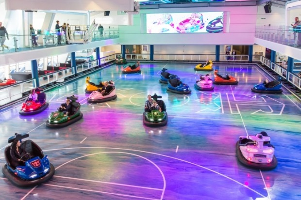 Bumper cars at SeaPlex on board Anthem of the Seas.