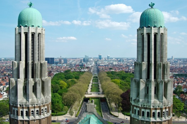 View on the northern-central part of Brussels from National Basilica of Koekelberg.