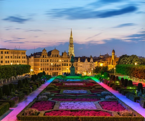 View of Brussels city centre in the evening.