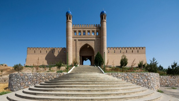 Modern reconstruction of gate of citadel of Mugh Tappa, Istaravshan, Tajikistan.