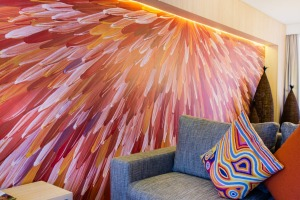 Artist Raymond Walters' eye-catching Emu Dreaming is reproduced in every unit at Emu Walk Apartments.