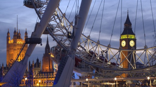 The London Eye with Houses of Parliament in the background.