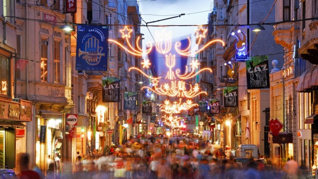 An evening view along the shopping thoroughfare of Istiklal Caddesi in the Beyoglu district of the city.