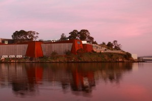 MONA. Museum of Old and New Art from Little Frying Pan Island, Derwent River, Hobart.