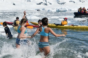Taking a dip in the Antarctica is a rite of passage.