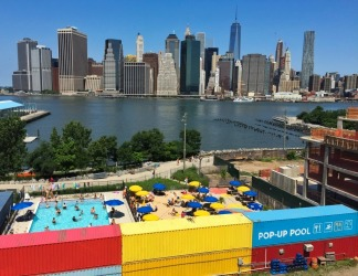 Pop up pool overlooking Manhattan Island in Brooklyn. I took this photo in July this year. I love how Brooklyn residents ...