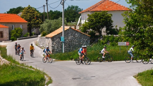 Cycling through Croatia's Konavle Valley.