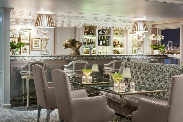 The Leopard lounge on Uniworld's SS Maria Therese river cruise ship.