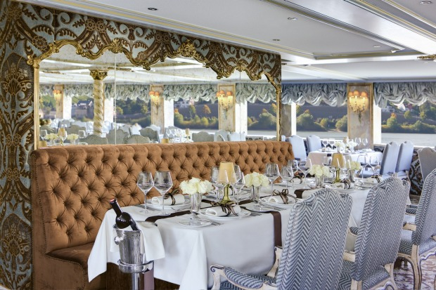 The Baroque restaurant on Uniworld's SS Maria Therese exudes elegance.