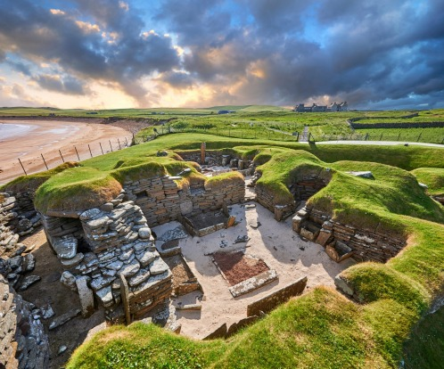 SKARA BRAE, SCOTLAND: In 1850, a storm in the Orkney Islands uncovered a simple, stacked-stone village, and basic stone ...