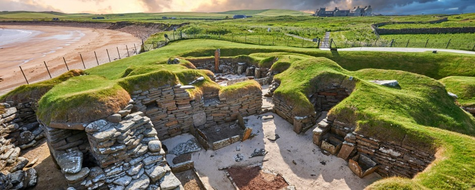 The neolithic village ruins of Skara Brae, Scotland.