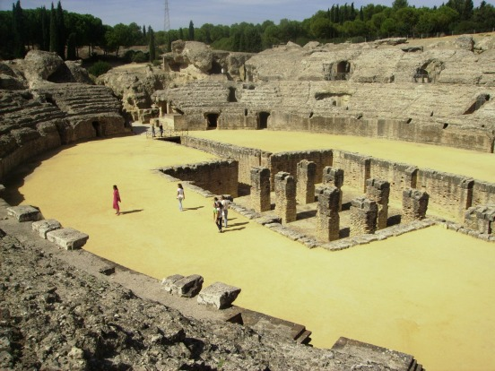 ITALICA, SPAIN: Birthplace of Roman emperors Trajan and Hadrian, the ruins of Italica are next to the town of ...