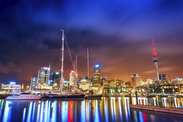 Auckland at night, New Zealand.