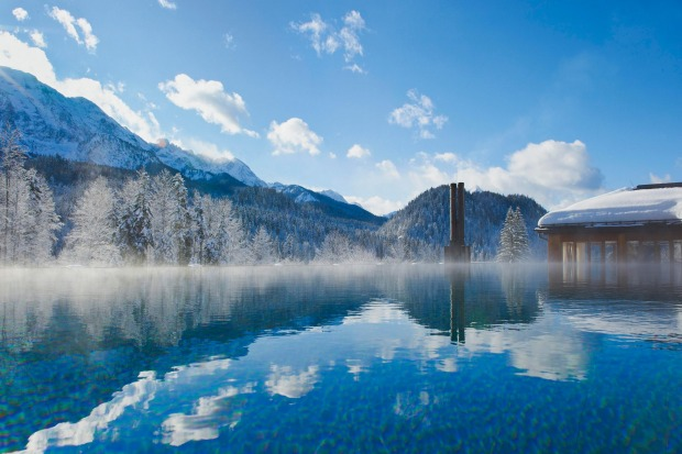 The high-altitude swim: Swimming amid the snowdrifts is one of the highlights of a winter visit to Schloss Elmau, the ...