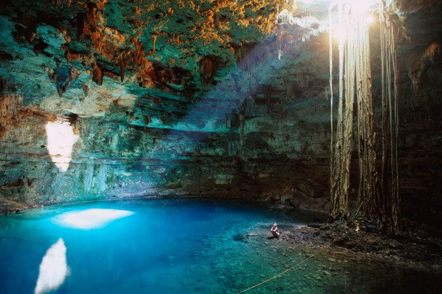 The underground swim: Picture yourself deep in the earth, looking up at the distant sky above you as you float on your ...