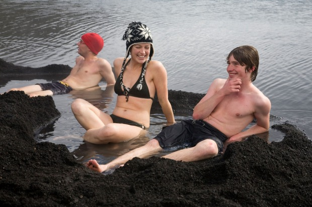 Warm up in a natural hot tub with volcanically heated water, Pendulum Cove, Deception Island.