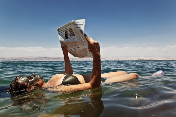 The Dead Sea's waters are so buoyant you can read without getting the paper wet.