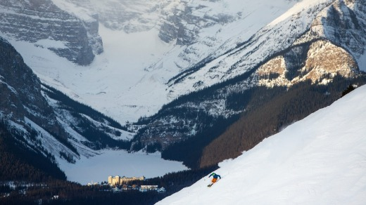 The Lake Louise Ski Resort with Chateau in  the background.