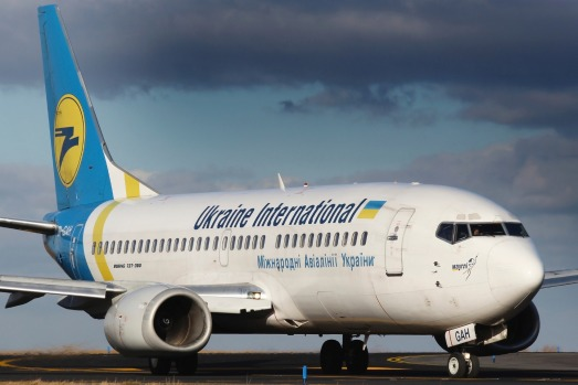 PRAGUE, CZECH REPUBLIC - JANUARY 12: Ukraine International Airlines - UIA Boeing 737-5Q8 taxis to teminal at PRG Airport ...