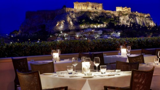 The Parthenon from the rooftop restaurant.