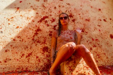 "The annual ""Tomatina"" tomato fight fiesta, in the village of Bunol, 50 kilometers outside Valencia, Spain took place ..."