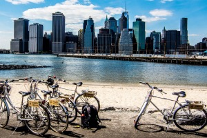 Doing a tour of Brooklyn by bike allows you to soak up wonderful views of the Manhattan skyline.