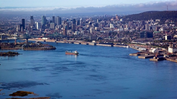 The St Lawrence River in Montreal.