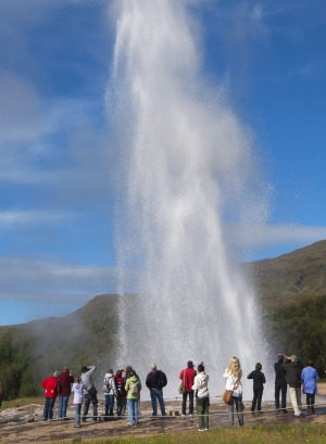 Strokkur geyser erupts on Golden Circle Route.