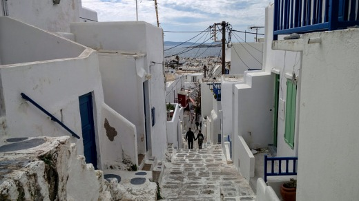 The heights of Chora, a typical Cycladic village built amphitheatrically.