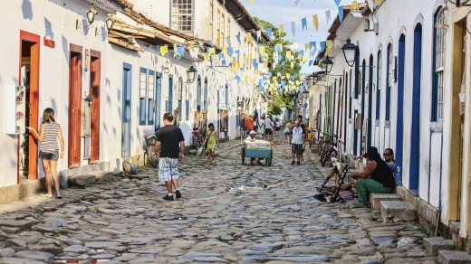 The ancient ancient coral walls of Paraty's old town are painted in every conceivable colour.