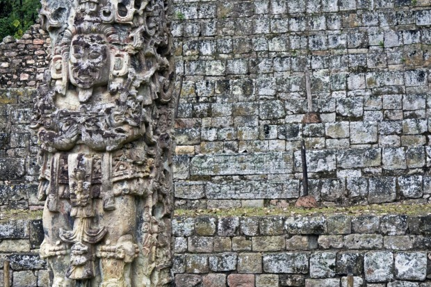 COPAN€‹, HONDURAS: Copan's strength is in the preservation of the detail. Stone parrot heads still line the Mayan ball ...