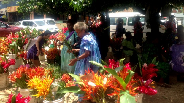 Vibrant flowers for sale at  Port Vila Market