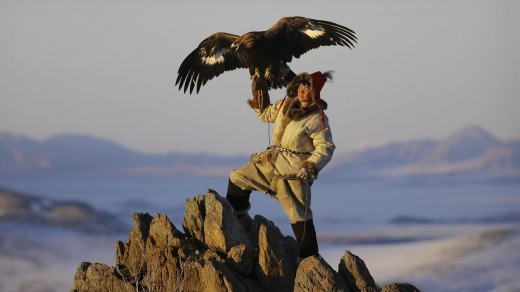 A Kazakh golden eagle hunter flies his majestic eagle from a mountain summit in Western Mongolia.