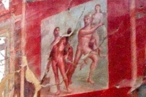 Painted murals inside a room at the ancient Roman ruins at Herculaneum.