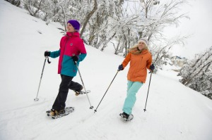 Mt Buller residents Gillian Dobson and Niki Donaldson enjoy a fresh and scenic snowshoe walk around the village. Photo:  ...