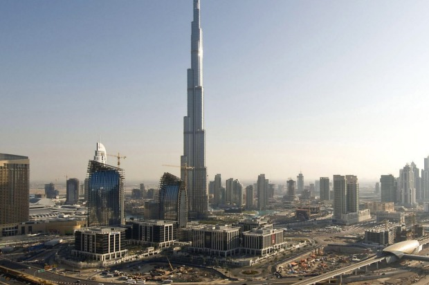 The Burj Dubai, the world's tallest building, towers over the skyline in Dubai, United Arab Emirates.