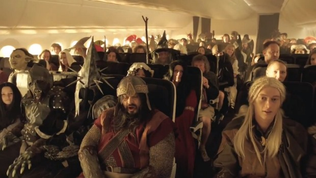 A scene from an Air New Zealand in-flight safety video.