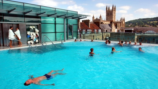 Rooftop pool at the Bath Thermae Spa UK.